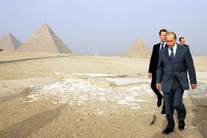 Russian President Vladimir Putin visiting the Great Pyramid of Giza in Egypt