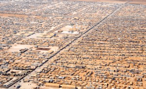 Aerial view of Zaatari refugee camp, where David Cameron visited this week.