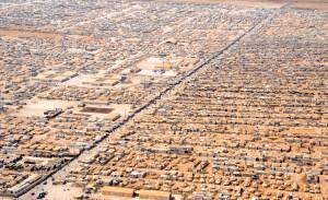 Aerial view of Zaatari refugee camp, where David Cameron visited this week.